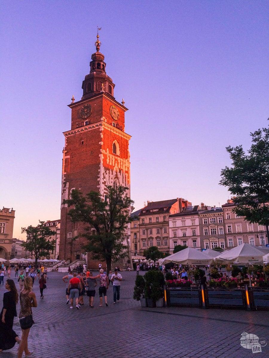 Sunset on the Krakow Main Square