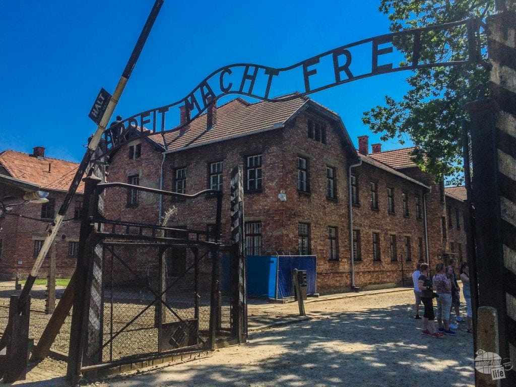 The infamous front gate of Auschwitz
