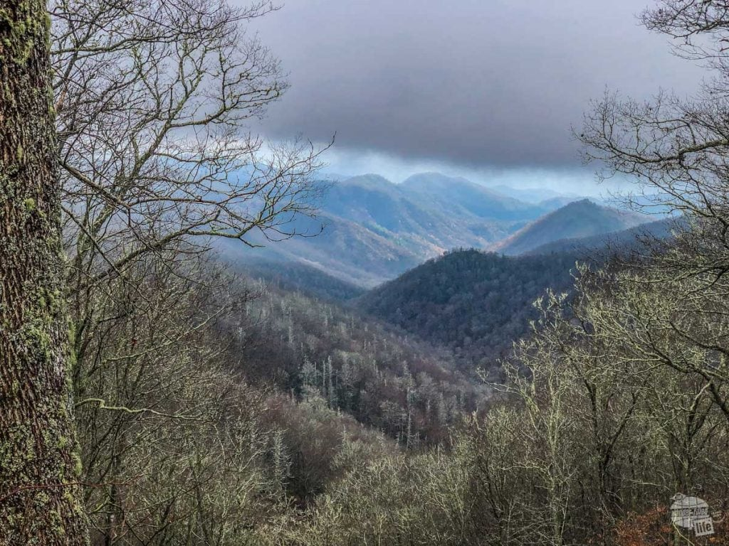 Sunlight trying to break through the clouds in the Smokies.