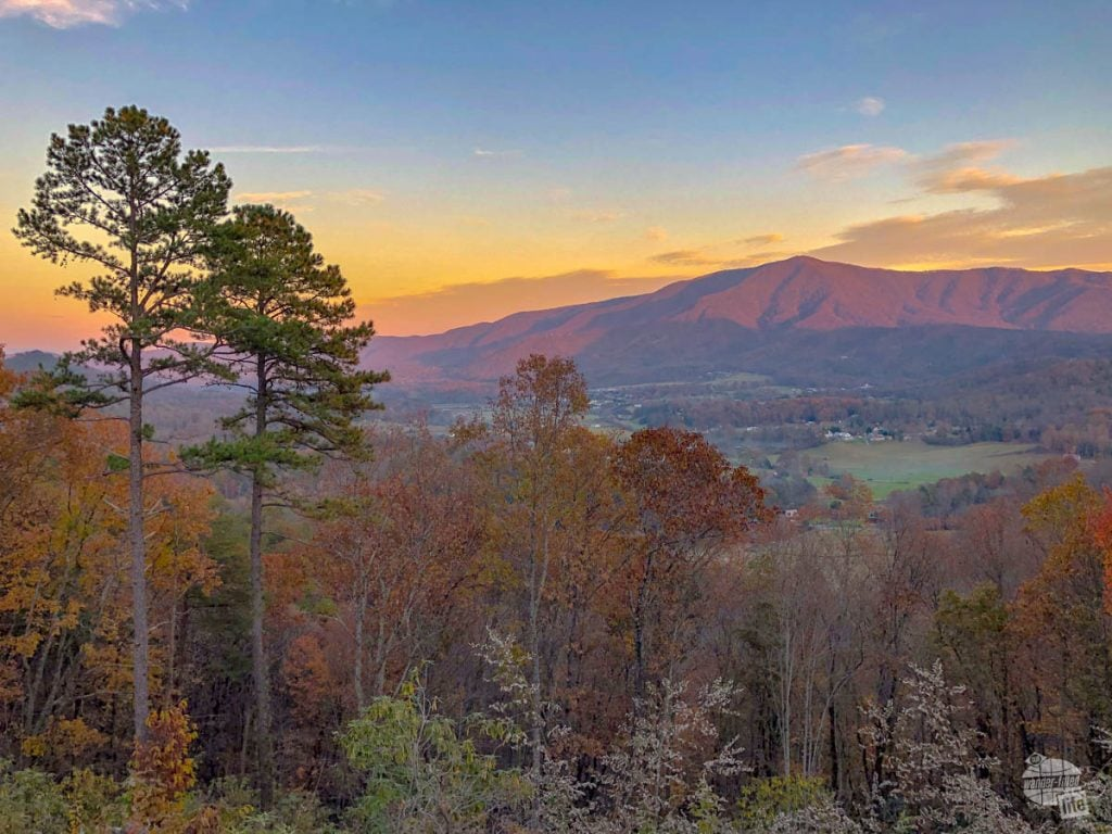 Sunset overlooking Wears Valley from a newly-opened section of the Foothills Parkway, part of Great Smoky Mountains National Park.