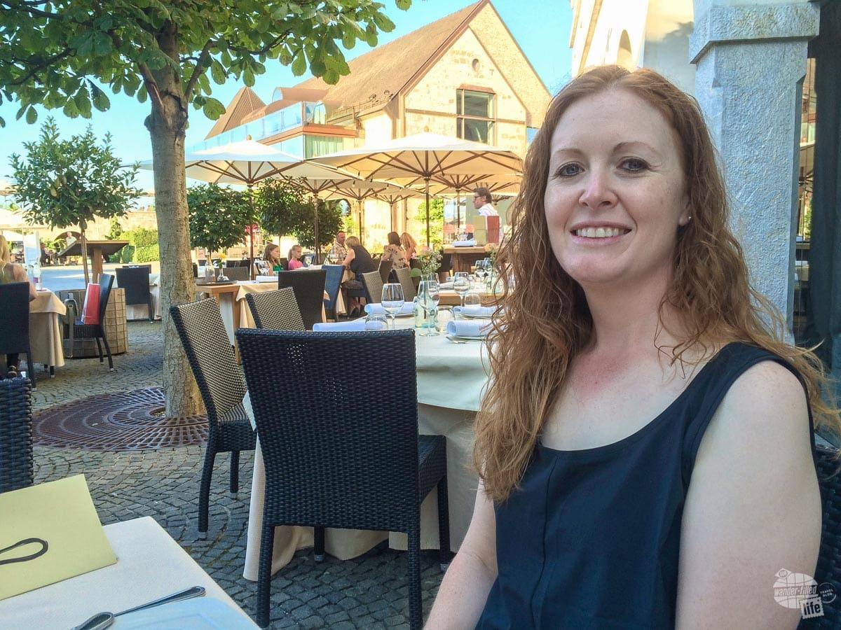 Bonnie enjoying dinner in the castle in Ljubliana.