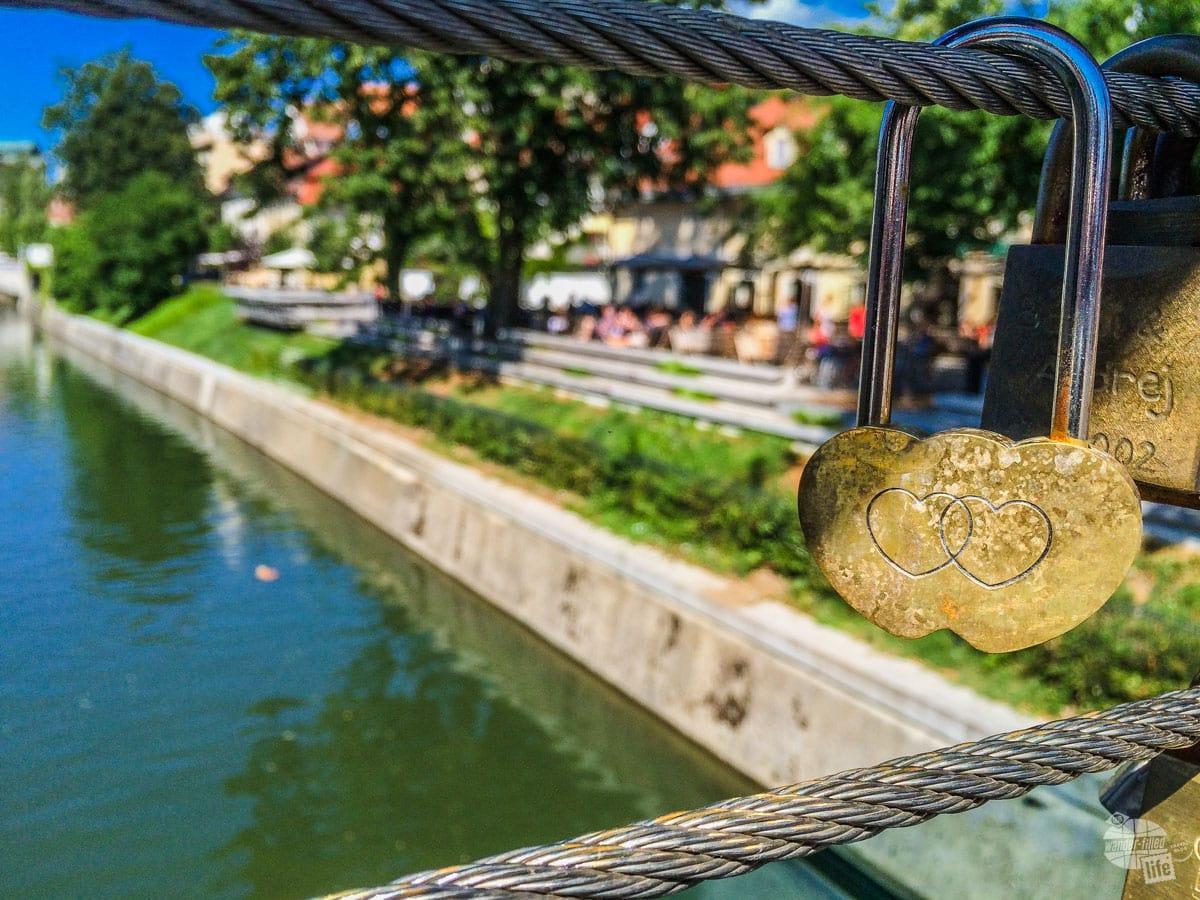 Love locks at the Butchers' Bridge in Ljubljana.
