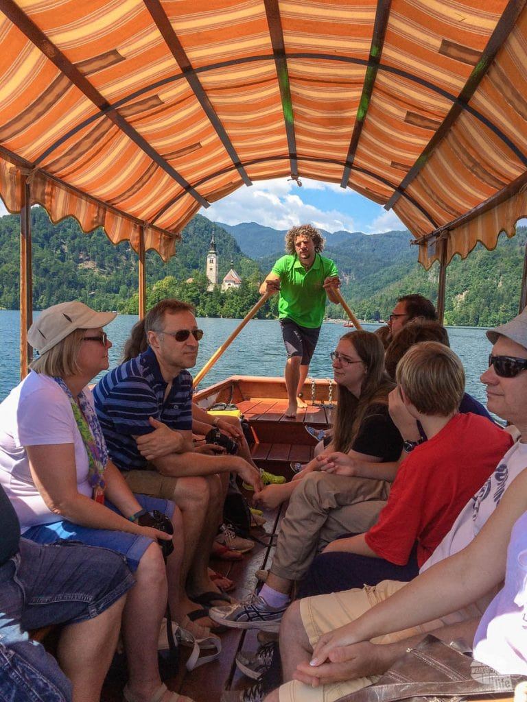 Cruising on a pletna boat on Lake Bled