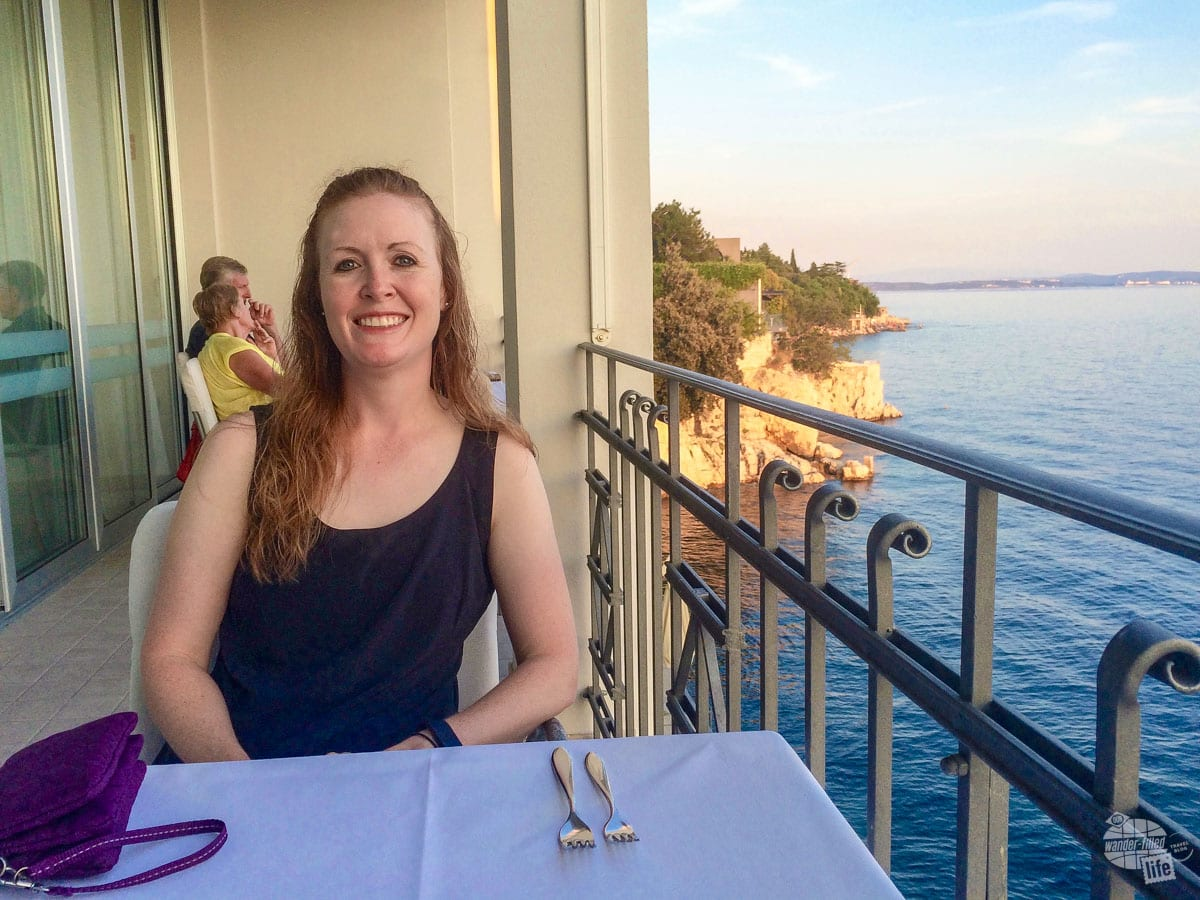 Bonnie ready for dinner along the sea at the Four Star Best Western in Rijeka, Croatia.