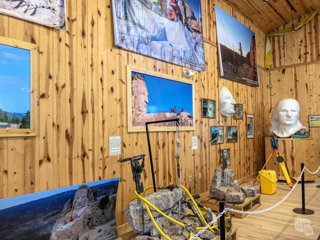 An exhibit at the Crazy Horse Memorial on the tools used to sculpt the rock.