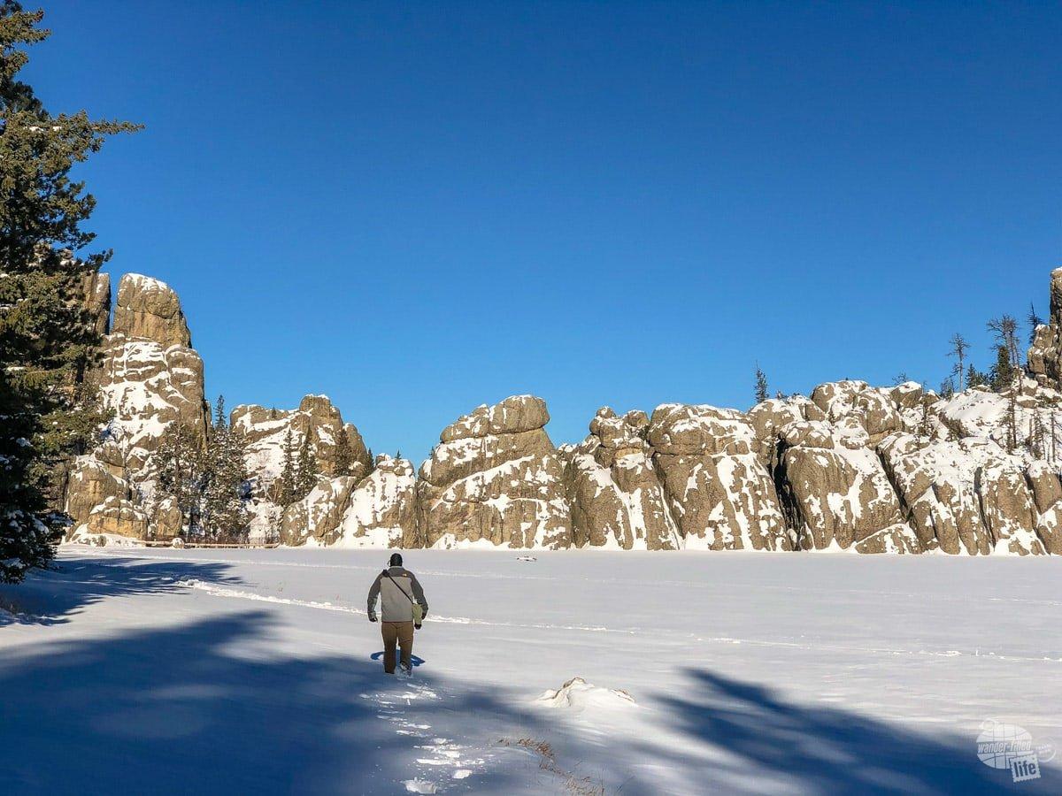 Hiking in the snow at Sylvan Lake.