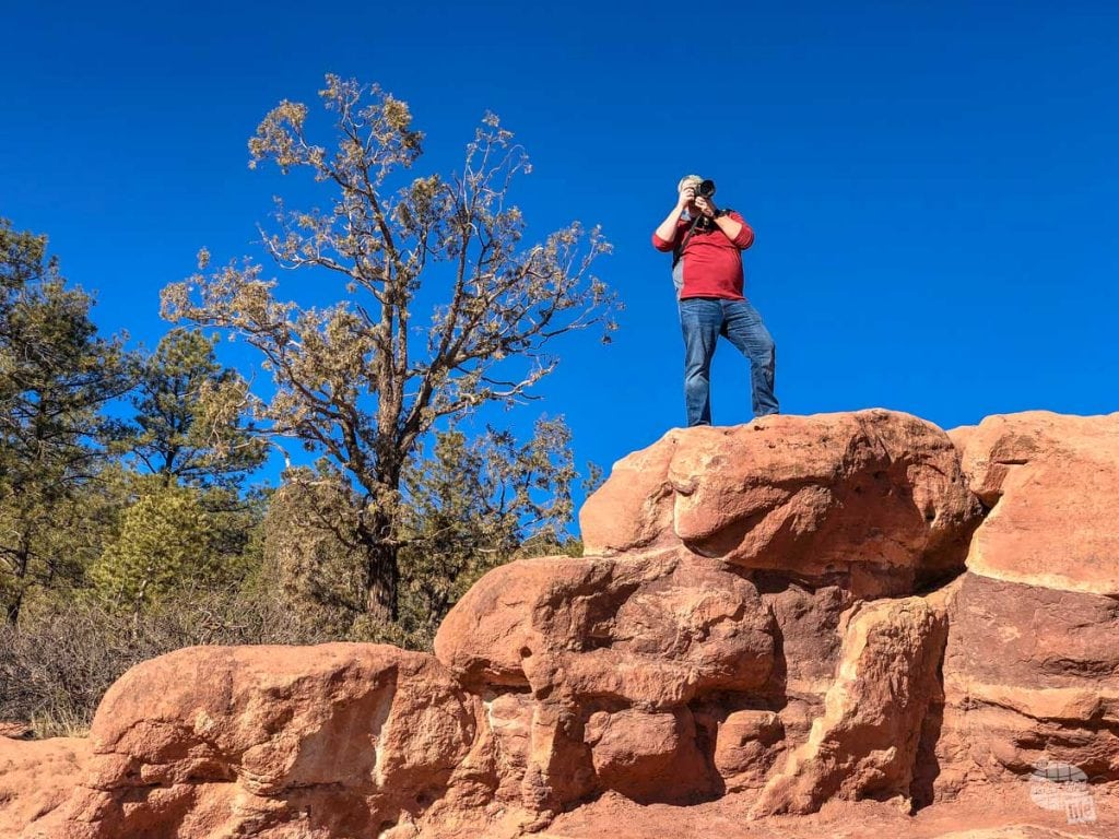 Grant taking pictures at Balanced Rock.