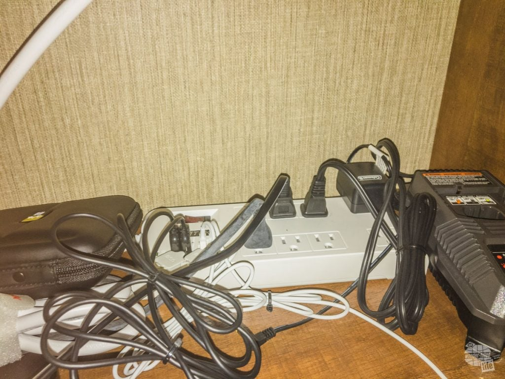 Power Strip with USB ports makes charging electronics easy.