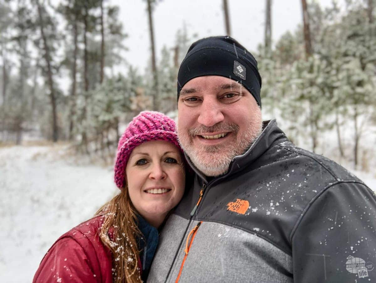 Selfie in the snow in Custer State Park in the Black Hills