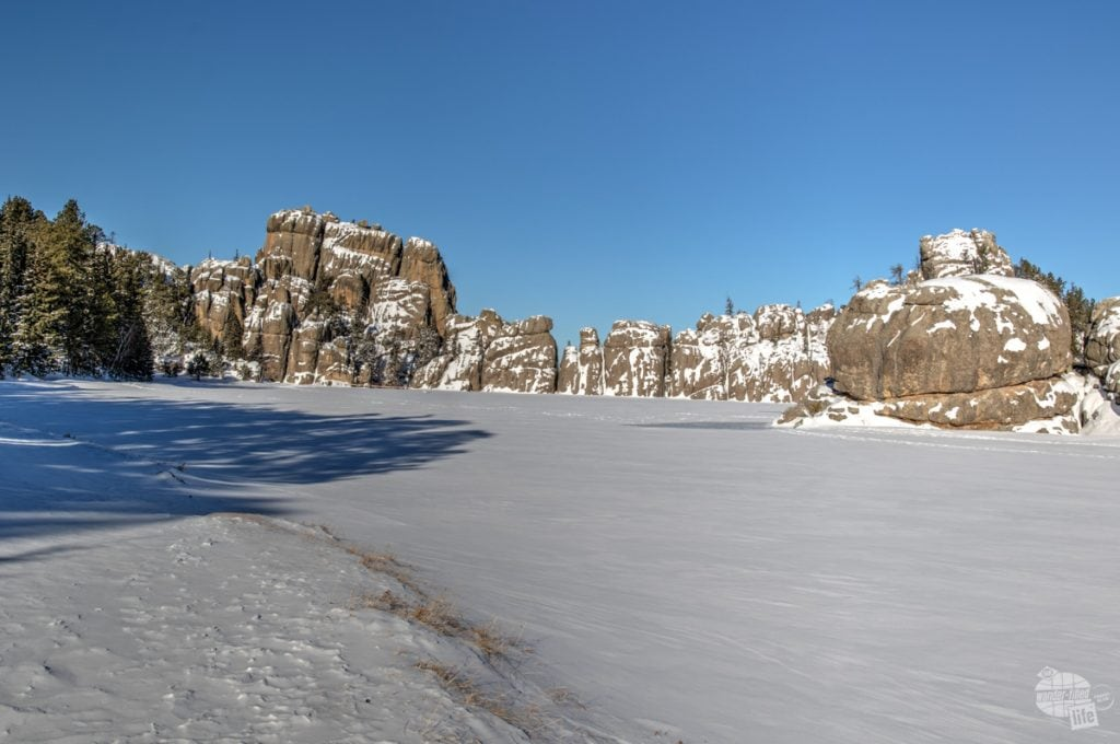 A snow-covered Sylvan Lake in Custer State Park