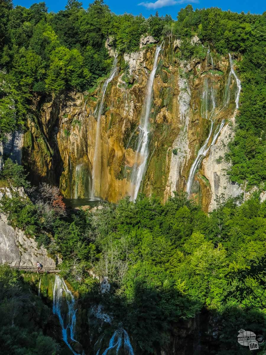 The large waterfall at Plitvice Lakes National Park.
