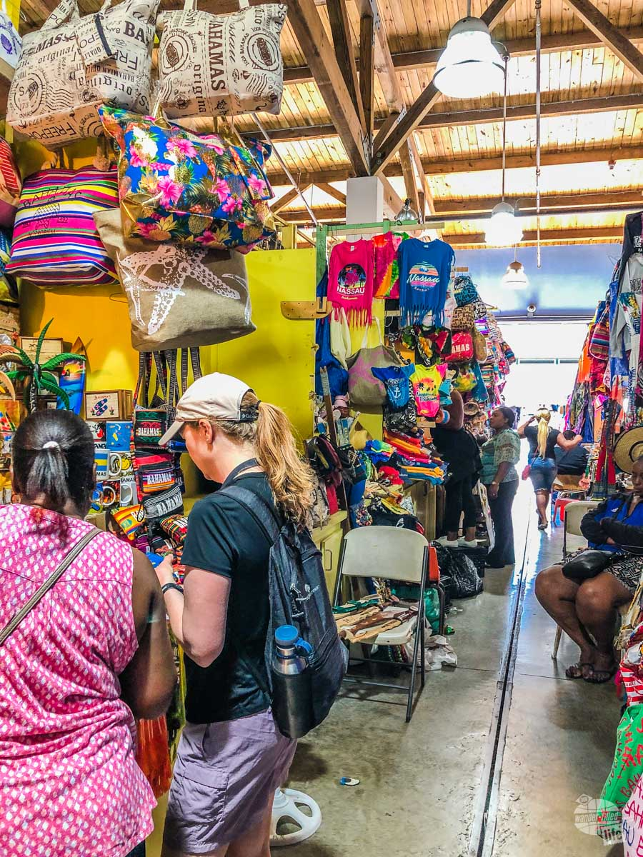 Hunting for souvenirs at the Straw Market in Nassau.