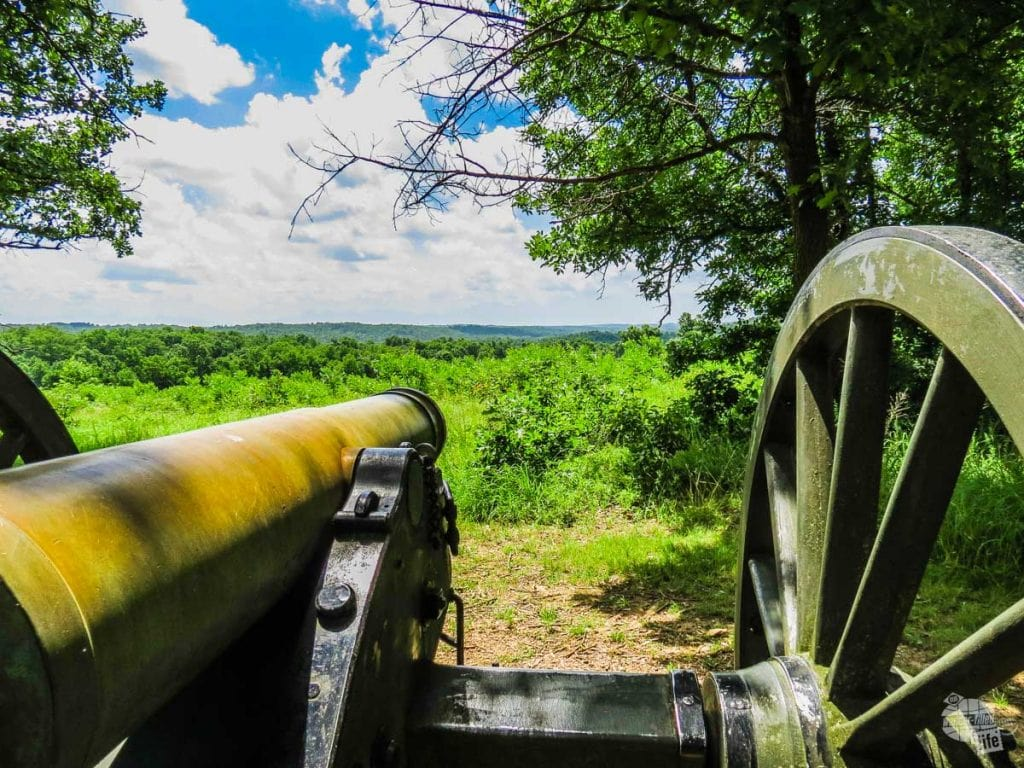 A cannon overlooking Wilson's Creek battlefield from the DuBois Battery.