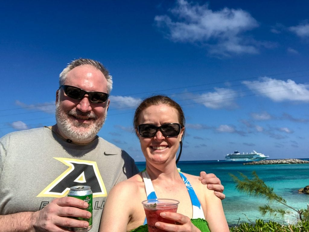 Enjoying a couple of tasty drinks on Great Stirrup Cay.
