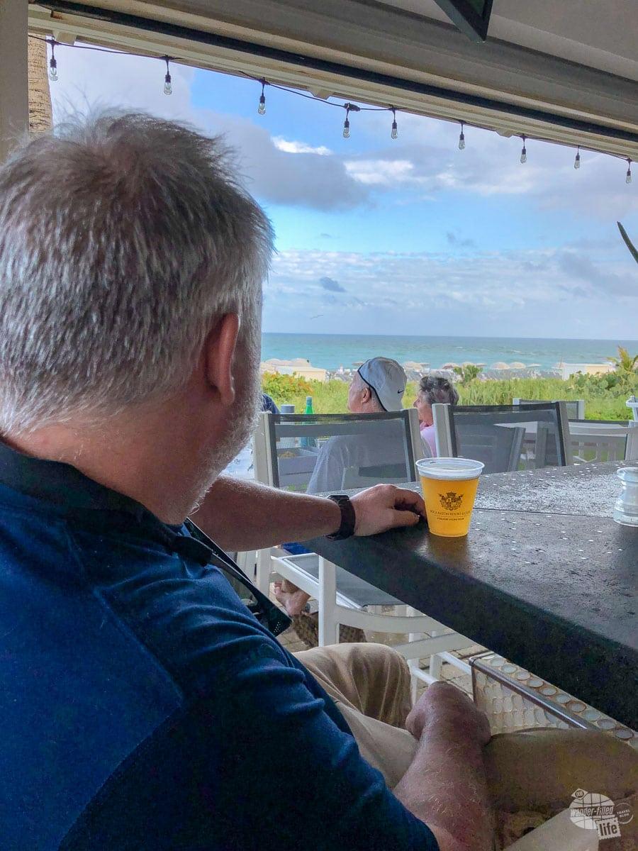 Grant enjoying a beer at the Beaches bar that the Boca Beach Club.