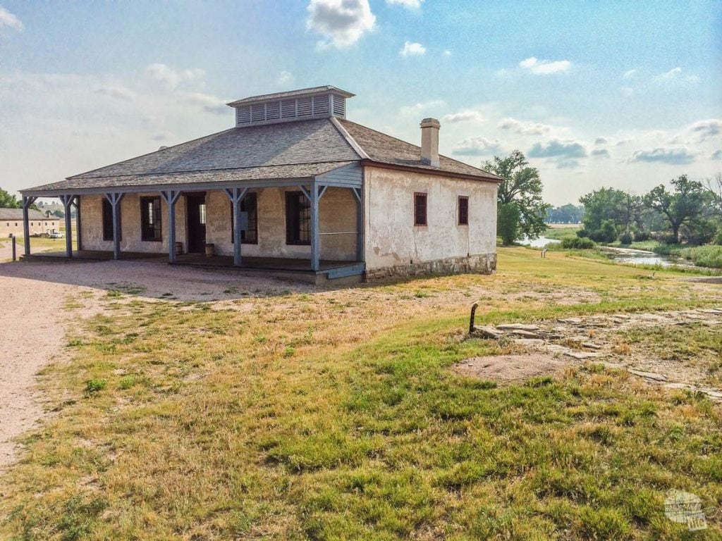 "The ""new"" guardhouse at Fort Laramie overlooking the Laramie River"