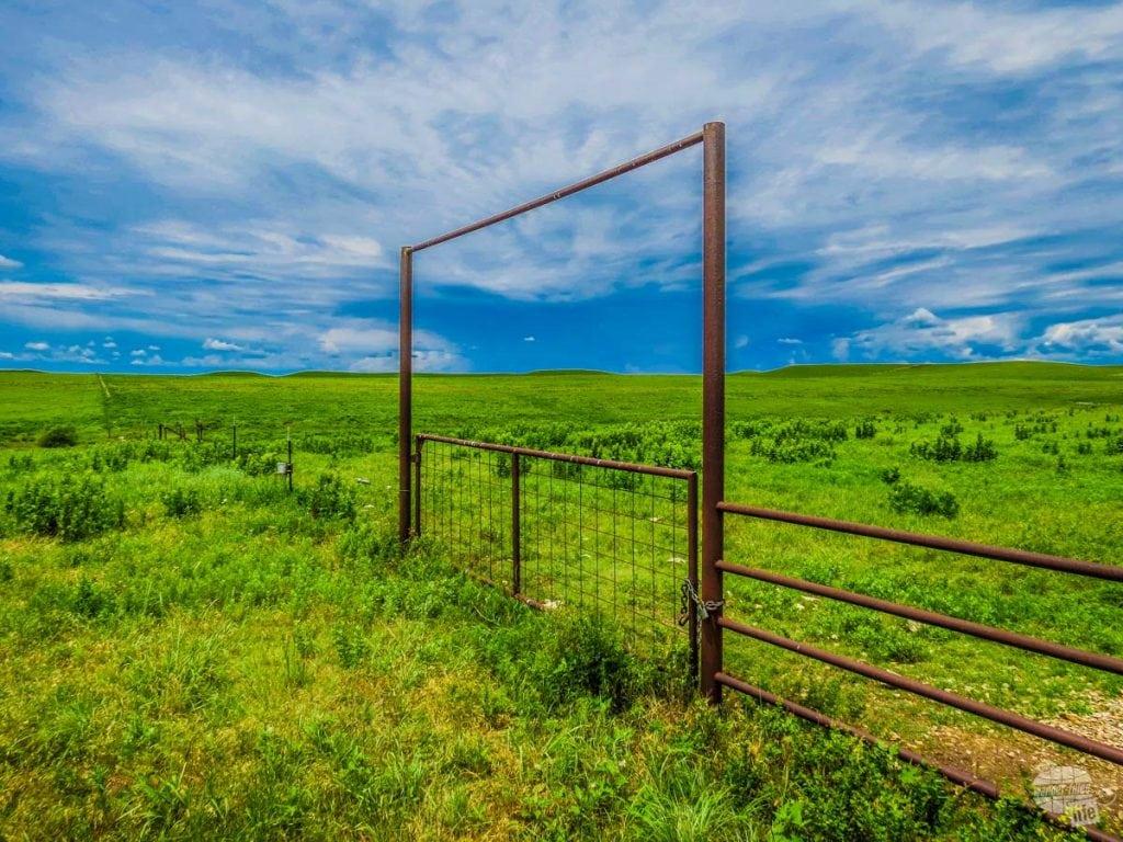 Livestock gate on the prairie