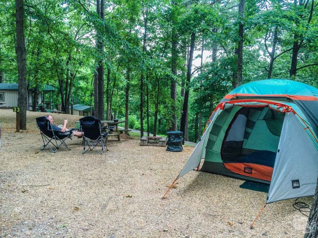 Camping in Branson, MO in our REI Hobitat 4.