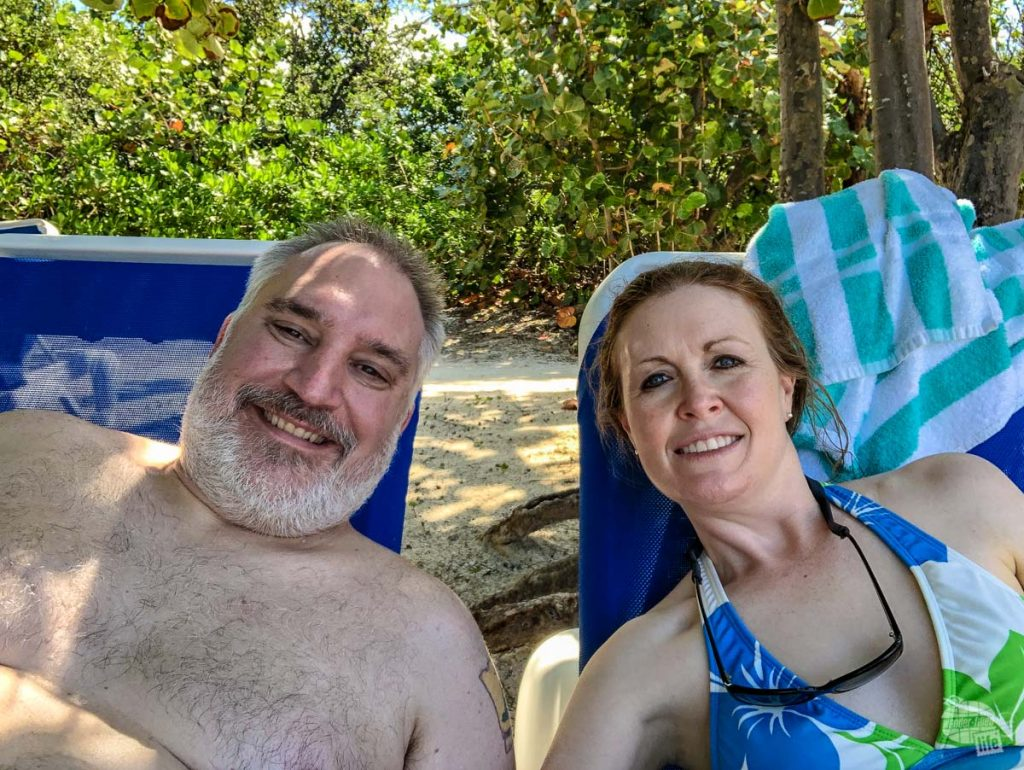 Relaxing on the beach at Great Stirrup Cay