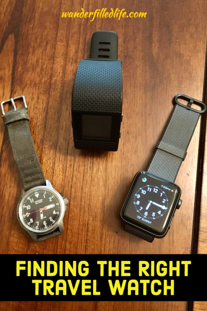 A comparison between the Apple Watch and the Fitbit Surge, along with a Citizen Eco-Drive field watch to determine which is the best travel watch.