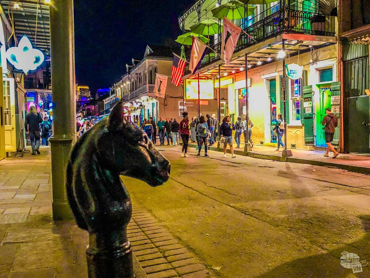 A quiet night on Bourbon Street in New Orleans.
