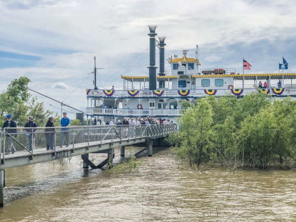 The Creole Queen riverboat stops at Chalmette Battlefield twice a day.