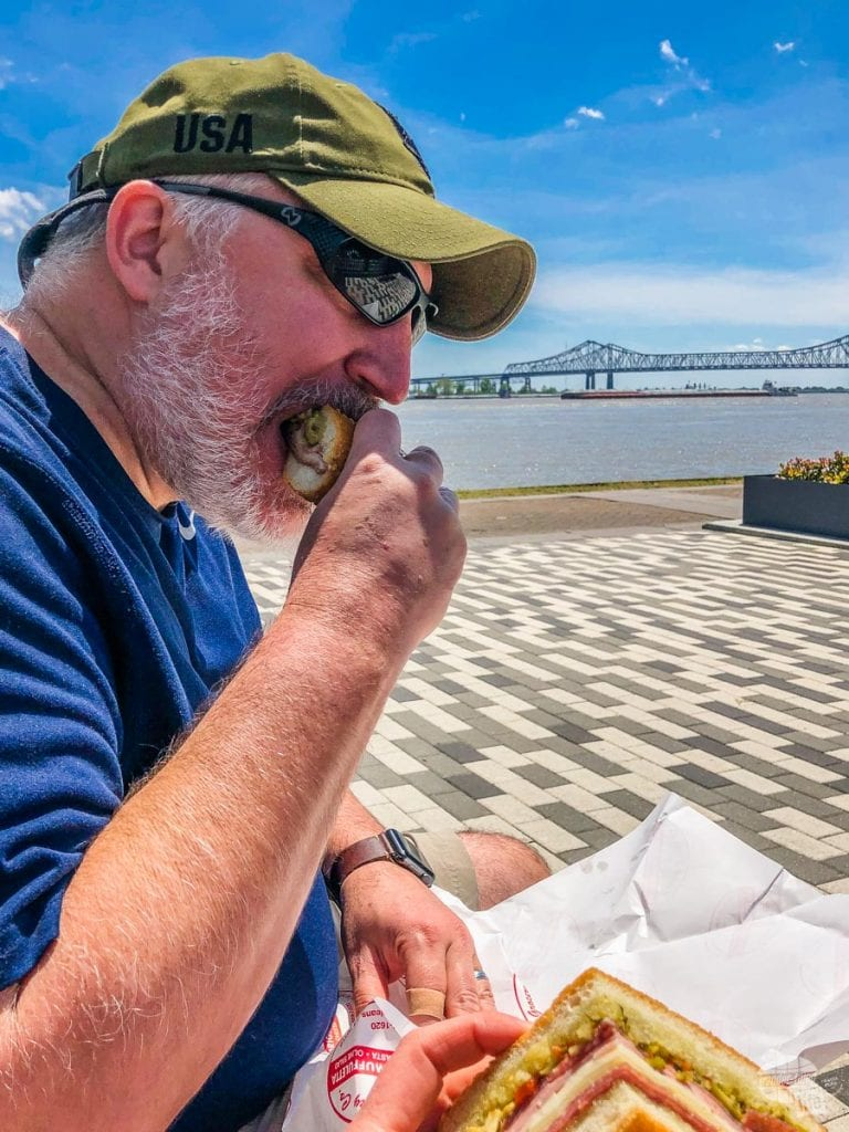 Grant enjoys a muffuletta sandwich from Central Grocery in New Orleans.