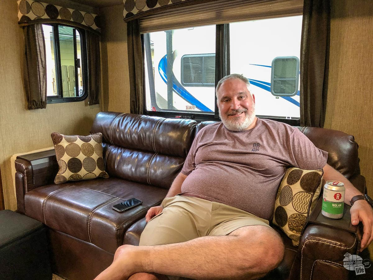 When buying an RV for the first time, consider what you want - we love our full size couch.