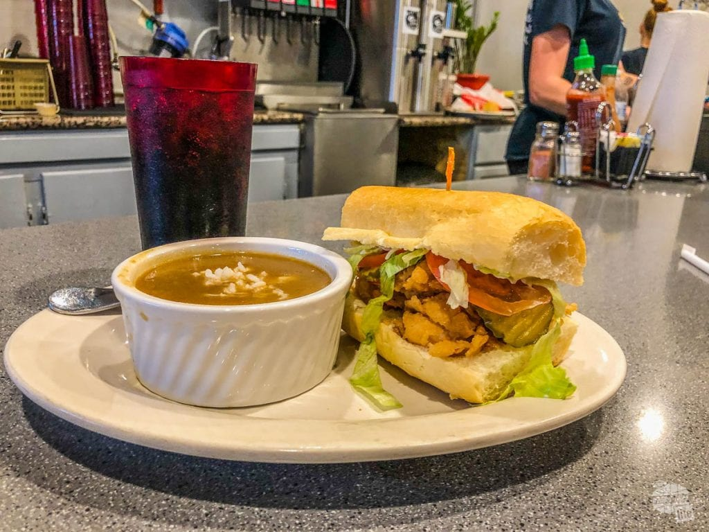 Gumbo and shrimp poboy from the Cajun Kitchen.