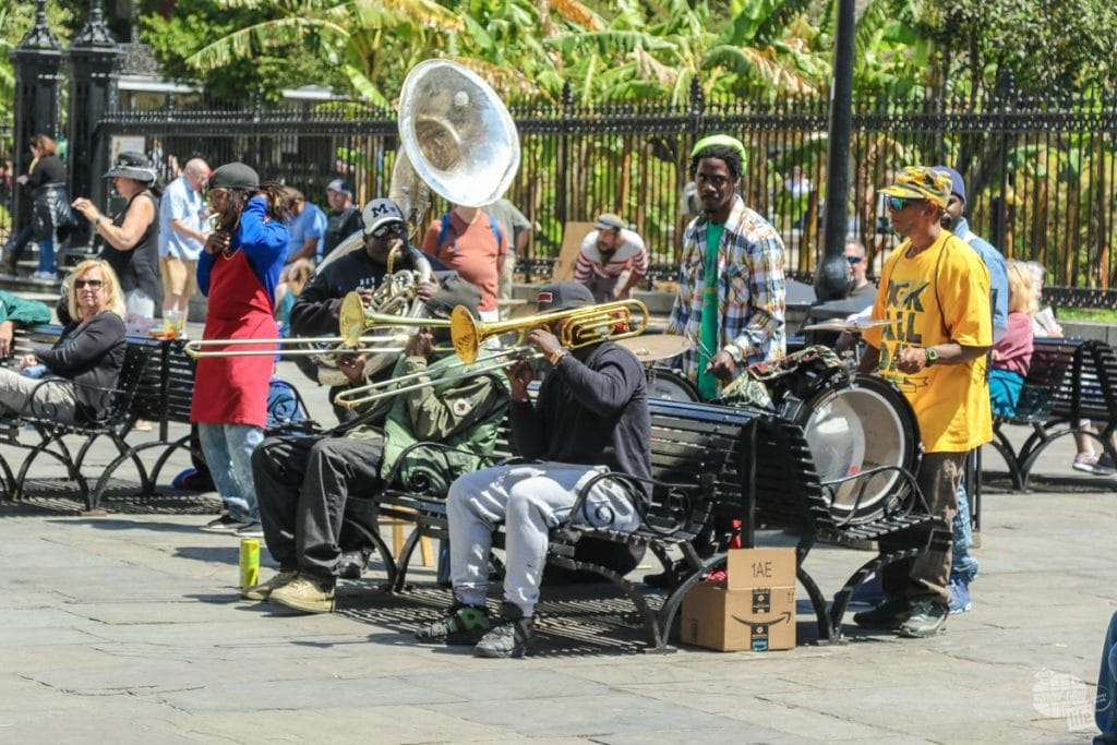 A band plays near Jackson Square in New Orleans.