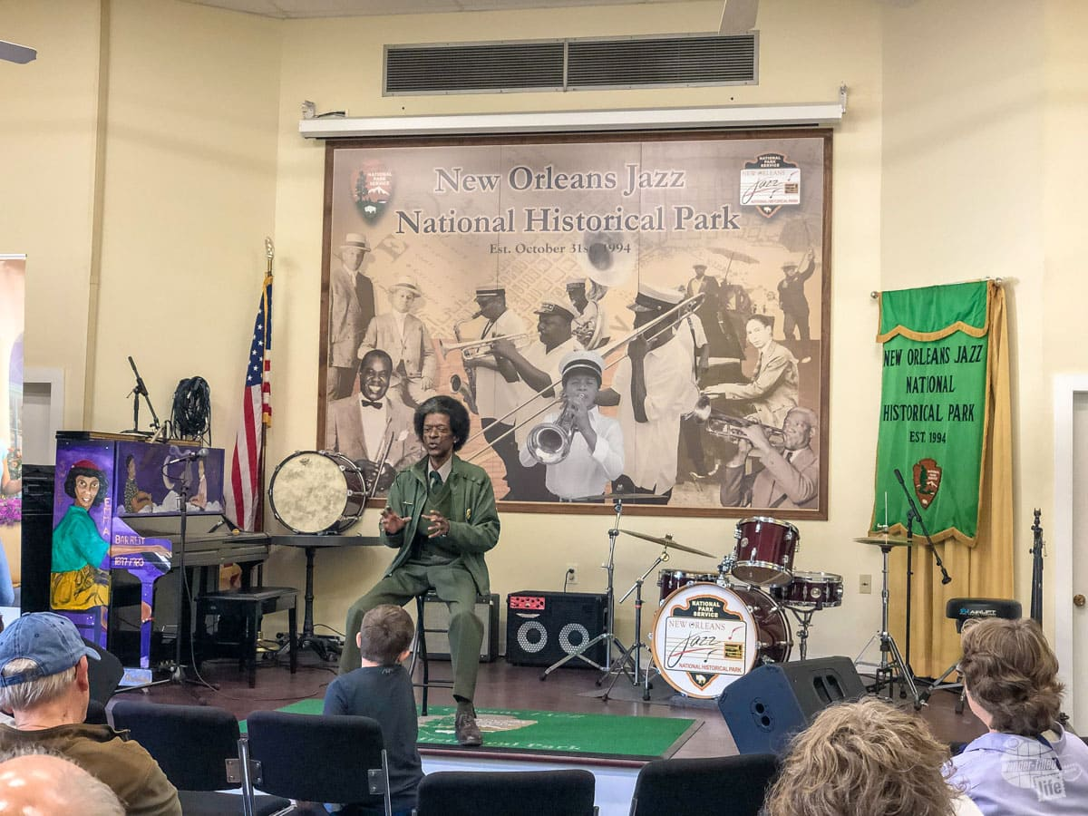 Listening to a ranger explain how jazz really got started in New Orleans.