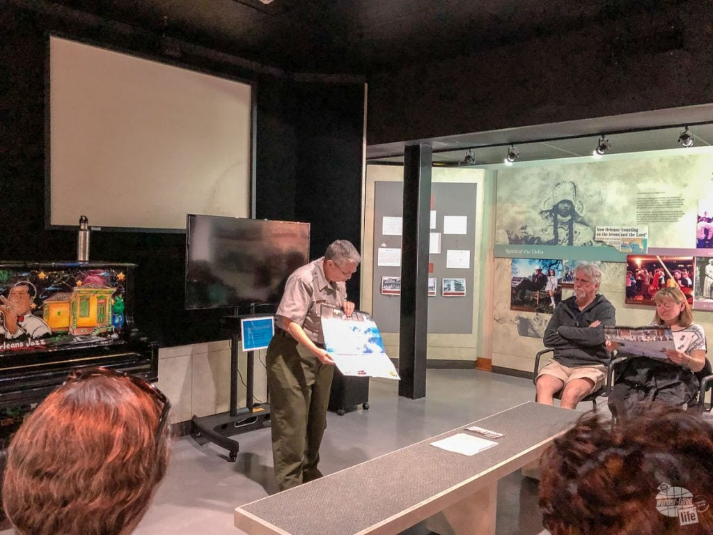 A ranger presentation at the French Quarter Visitor Center of the Jean Lafitte National Historical Park and Preserve.