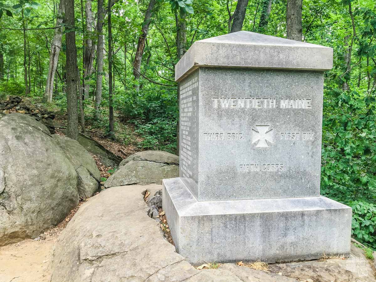 This monument the 20th Maine Regiment on Little Round Top. Their actions on the second day of the battle saved the Union line from crumbling.
