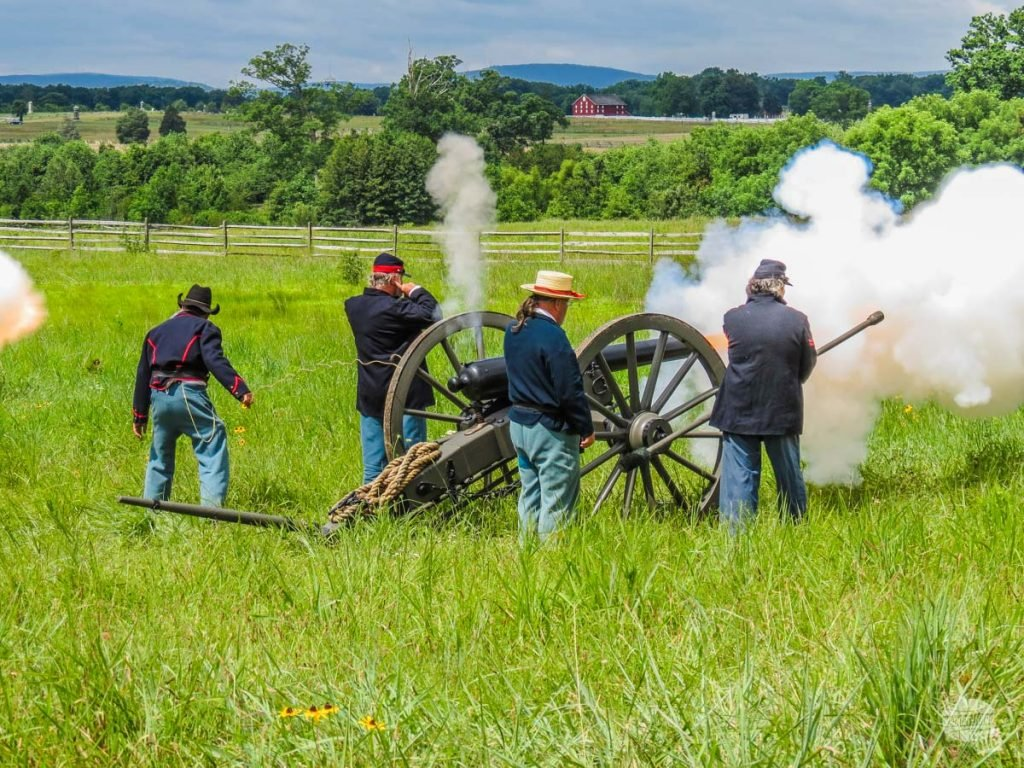 An artillery demonstration by Civil War reenactors.