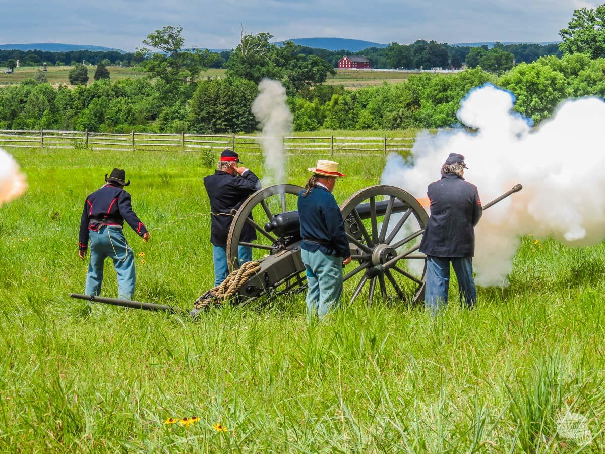 An artillery demonstration by Civil War reenactors.