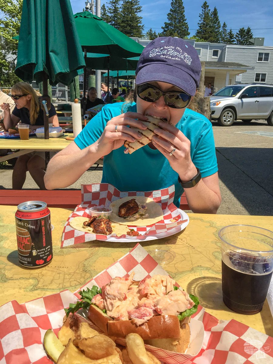 Bonnie had fish tacos and I chowed down on a lobster roll at Beal's Lobster Pier in Southwest Harbor.