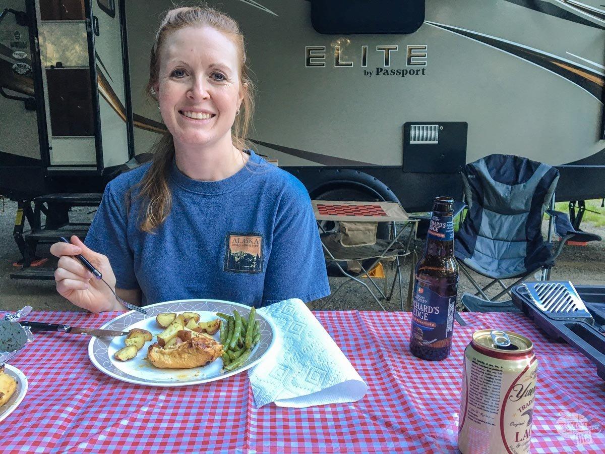 Bonnie enjoying dinner at the campsite.