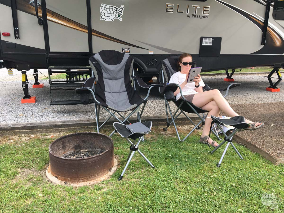 Bonnie relaxing at our campground just across the state line from Chattanooga.