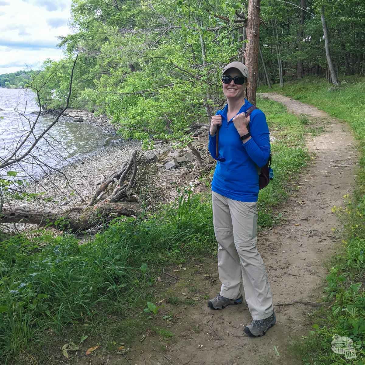 Bonnie on the trail along the Hudson River.