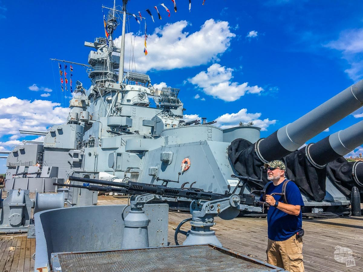 Grant manning one of the antiaircraft guns aboard the battleship Massachusetts.