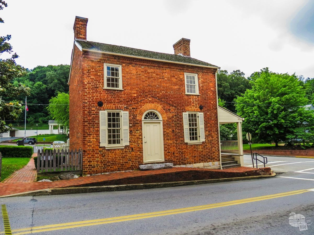 Andrew Johnson's first home in Greenville, TN, an unassuming brick building.