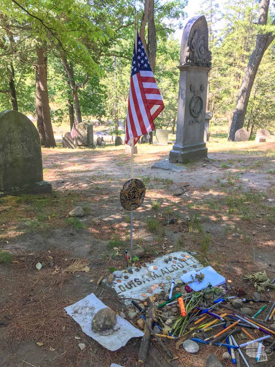 Louisa May Alcott's grave... I did not know she was a nurse during the Civil War, hence the veteran's honors.