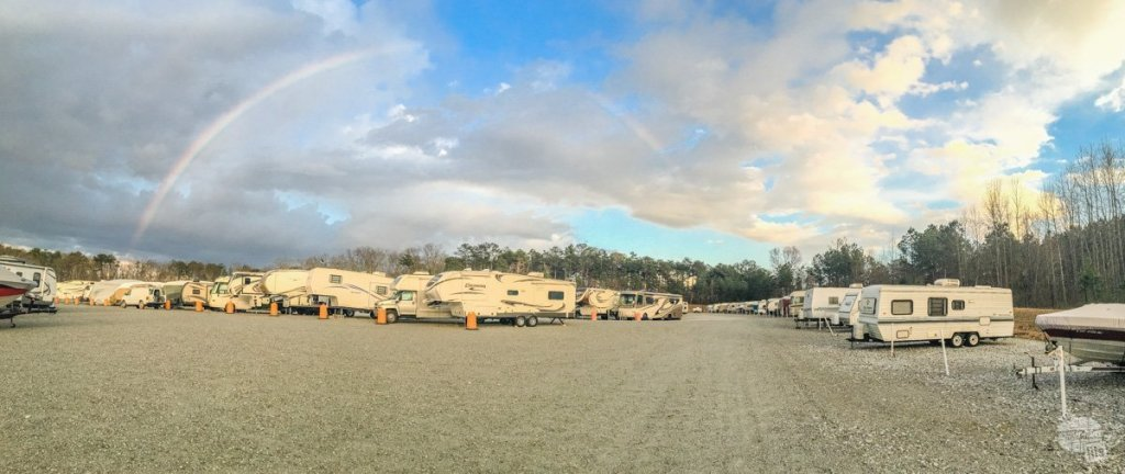 Couldn't help but stop to take a picture of the rainbow over our new storage lot after dropping off the camper.