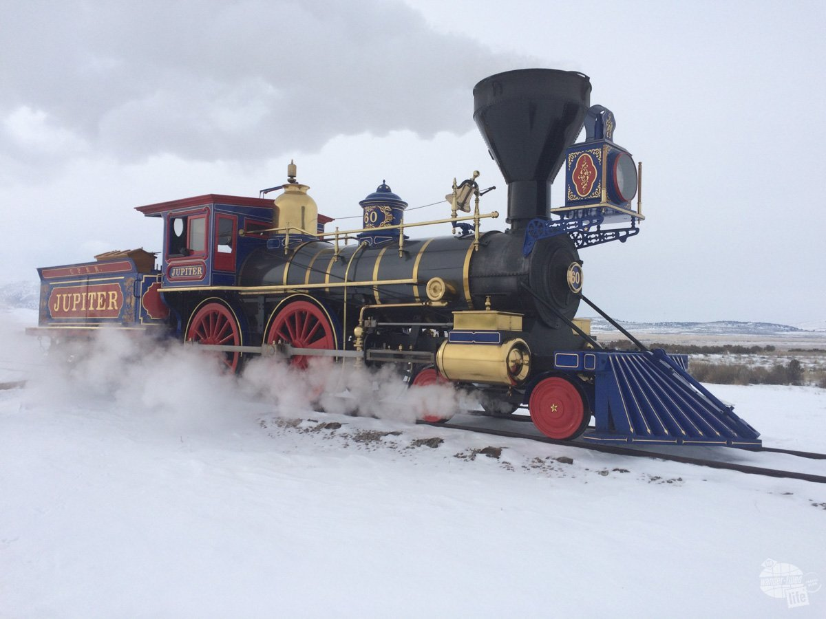 The Jupiter, a restored steam locomotive appropriate to the time when the transcontinental railroad was completed.