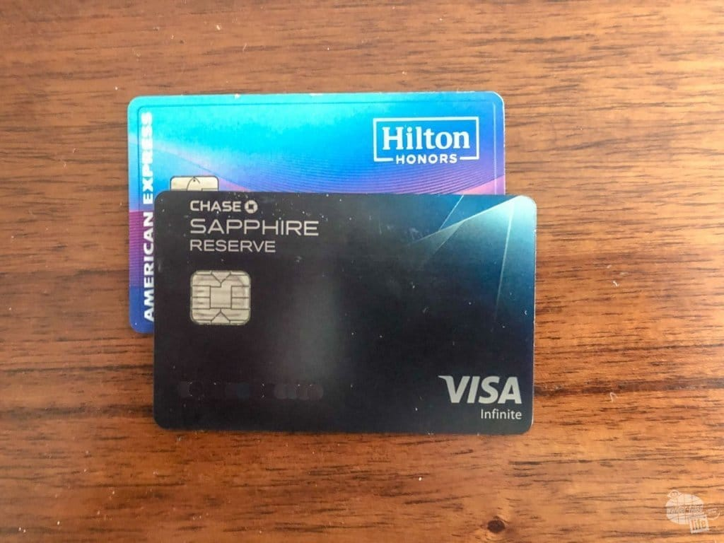 The Hilton Honors Ascend American Express and the Chase Sapphire Reserve are our two primary travel credit cards. (Personal Info edited out.)