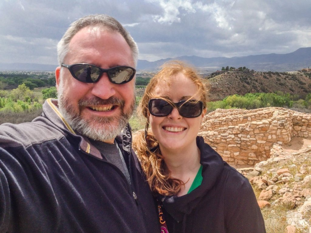 Selfie at Tuzigoot National Monument. We used two free weekend certificates and Delta certificates from being bumped off a flight to take a free vacation in Phoenix.