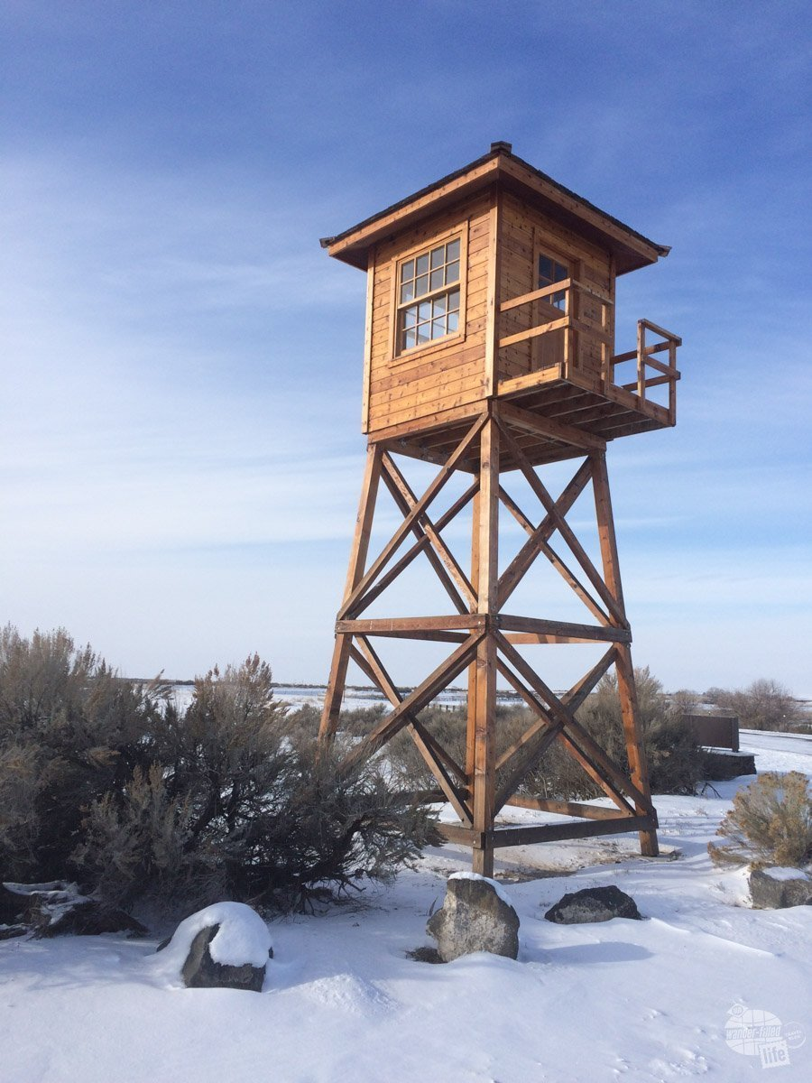 A lone watchtower at Minidoka National Historic Site, which was an interment camp for the Japanese during World War II.