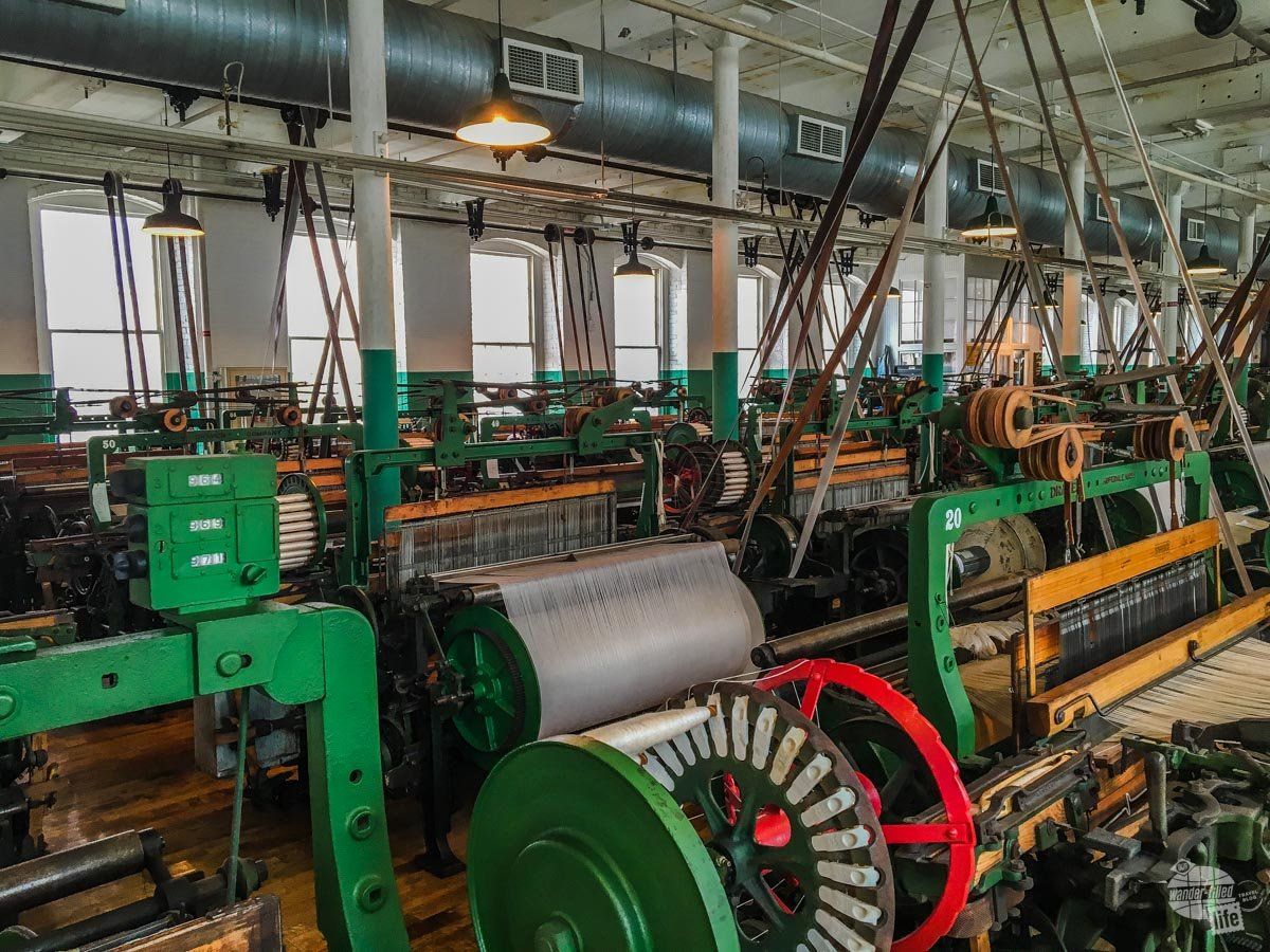 The few working looms in the weave room in the Boott Museuem were so loud the Park Service offered ear plugs for walking into the room. The movement vibrated the second floor of the building.