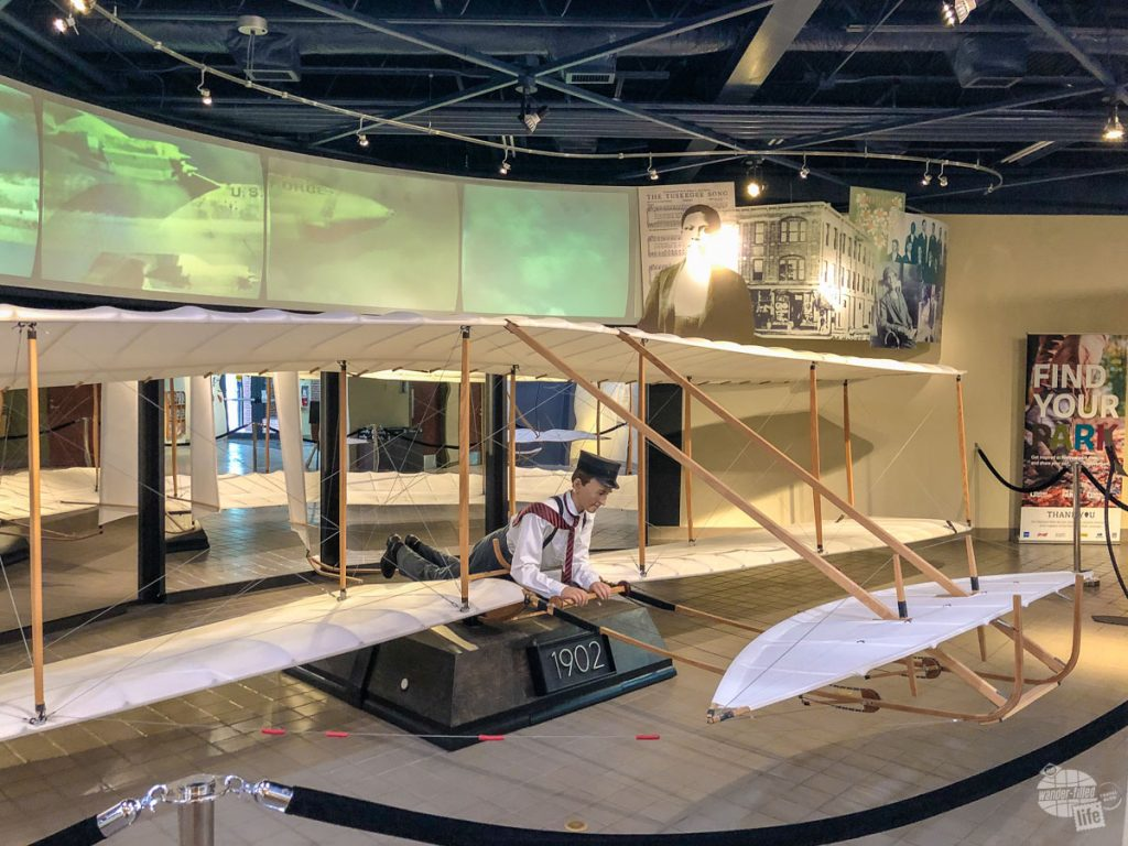A recreation of the Wright Brothers' 1902 glider.