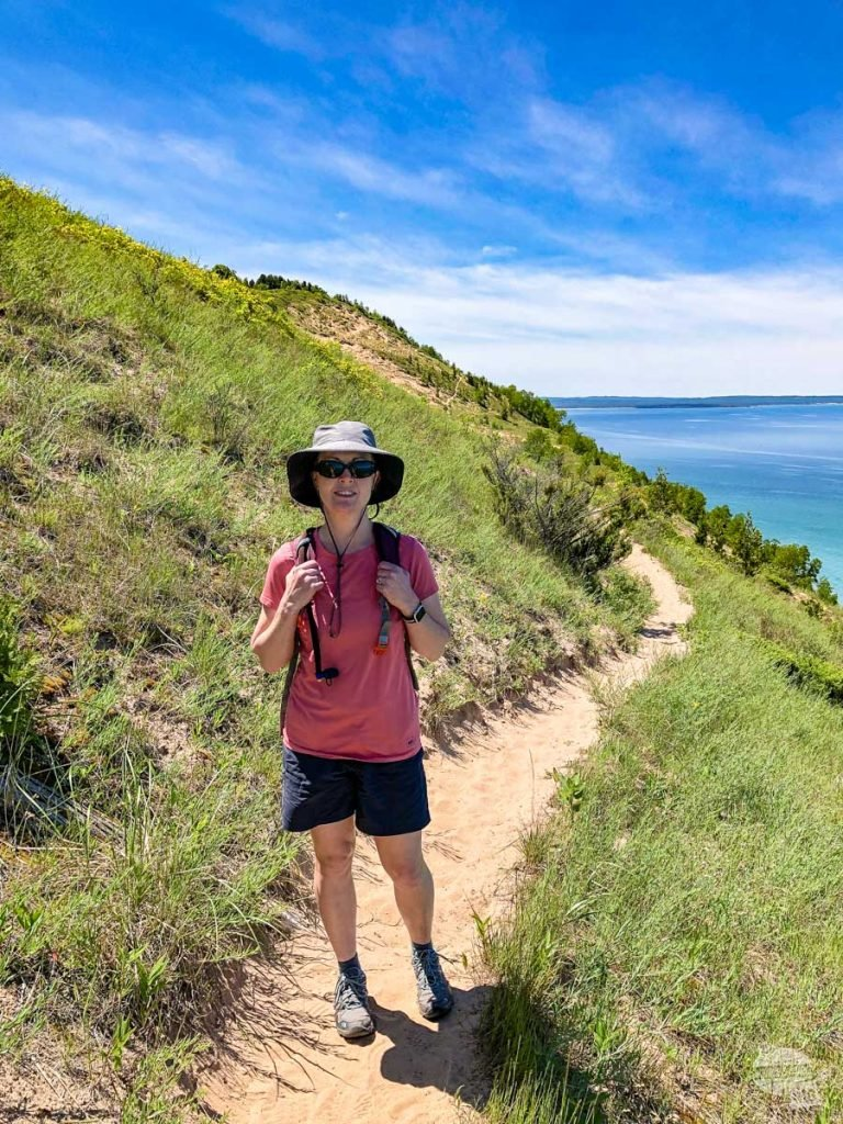 Bonnie hiking at Empire Bluffs.